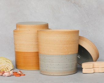 Fermentation crock water seal pot kimchi sauerkraut made in ceramic 2 liters yellow grey