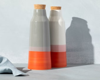 Carafe, water pitcher, bottle in ceramic with cork stopper, made in Canada