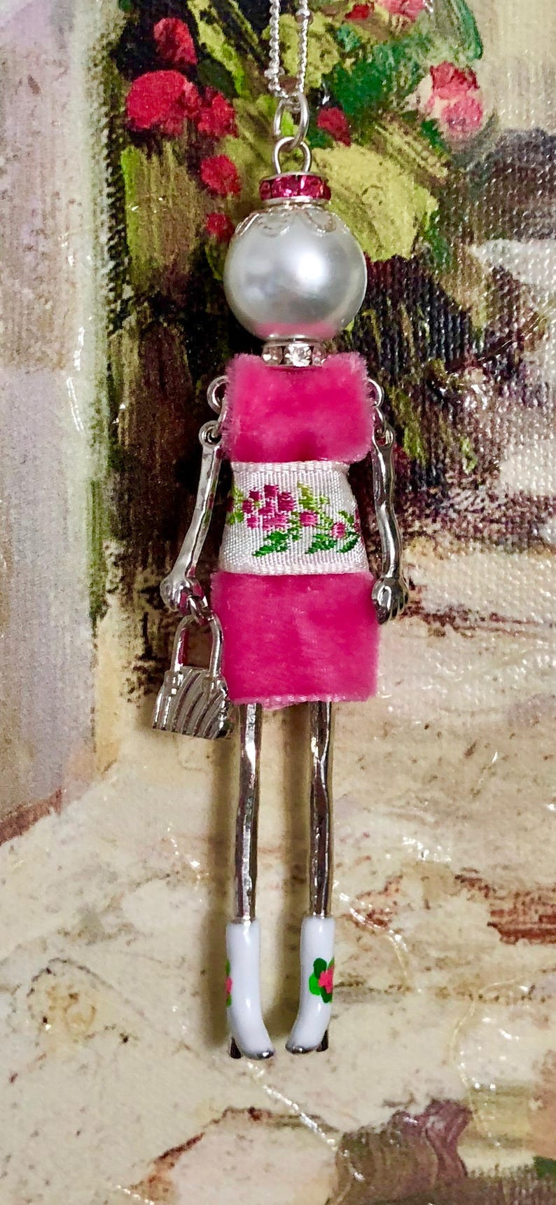 Ellies/' Belle: Sugar Valentine sweetie French doll pendant necklace Valentine/'s Day jewelry Italian doll necklace Valentine/'s Day bling