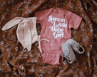 4b3d0db79 Sweet little baby girl Onesies®, baby sister, mauve Onesies® , pregnancy  announcement onesie, baby announcement,baby Onesies®