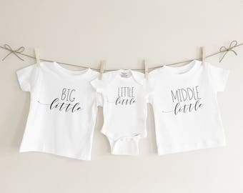 Big little middle little little little, sibling set sibling tees, pregnancy announcement, baby announcement, baby shower gift, matching tees