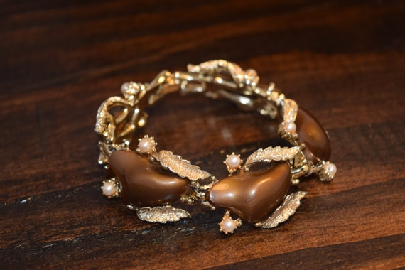 Estate Vintage Brown Bronze Gold Coro Thermoset B… - image 1