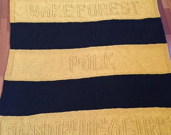 Wake Forest, Knit Blanket, Baby Shower Gift, Graduation Gift, Baby Blanket, Sorority, Monogram, Customized, Personalize, Knit Baby
