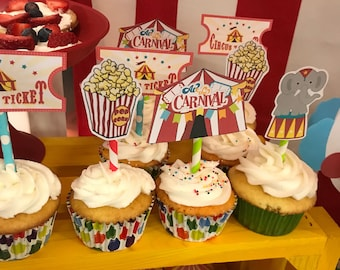 Circus, Carnival Party Cupcake Toppers