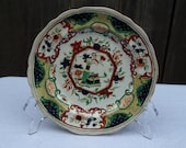 Antique English Imari porcelain dish floral design English Vintage Ceramic Plate 19th Century hand painted Saucer Dish Collectibles