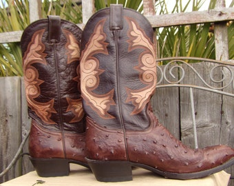 891c0c3c078 SUKIE S Western Boots Vintage Brown Ostrich Leather Mens Cowboy Boots  Mexico Size 44 Western Couture Boots Hand Made Boots Boho