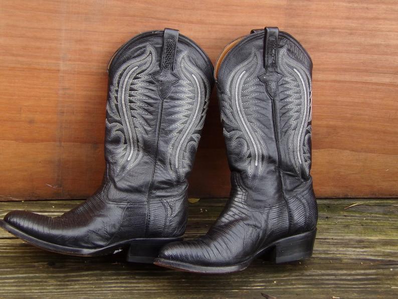 Black Western Boots Ferrini Lizard Skin Cowboy Uomo Stivali Us lZXrEeLD
