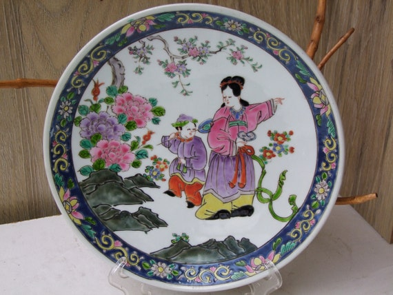 Decorative Chinese Rare hand painting Rare Rose Porcelain Plate Dragon Phoenix