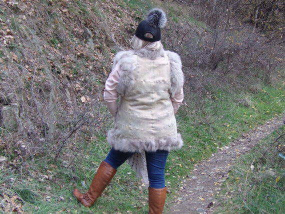 Women Leather Vest, Sheepskin Vest, Boho Vest, Han
