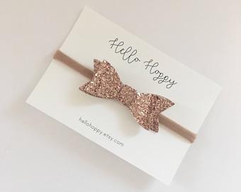 dee267eb3e87 Rose Gold headband   glitter hair bow   rose gold bow