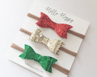 Christmas headbands / glitter bow headband, red glitter headband, gold glitter headband, headband set, Christmas headbands for babies