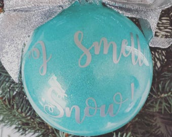 gilmore girls ornament i smell snow ornament glitter ornament custom christmas gift holiday decor christmas decorations - Aqua Christmas Decorations