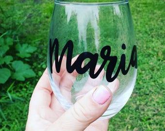 Personalized Wine Glass, Custom Wine Glass, Personalized Gift, Party Wine Glasses, Bridesmaid Gift, Stemless Wine Glasses, Custom Gift