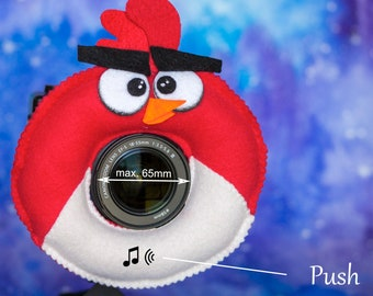 Photographer Helper, Camera Lens Buddy (65 mm hole) with a Squeaker - Red Angry Bird