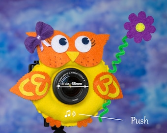 Photographer Helper, Camera Lens Buddy (65 mm hole) with a Squeaker - Yellow Owl with Purple Flower