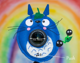 Photographer Helper, Camera Lens Buddy (65 mm hole) with a Squeaker - Blue Totoro with Susuwataris