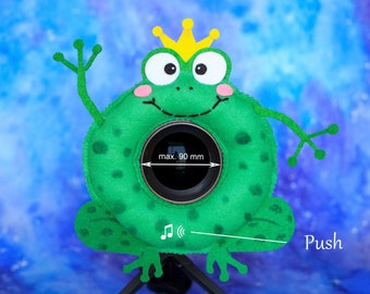 Photographer Helper, Camera Lens Buddy (75-90 mm hole) with a Squeaker - Funny Frog with a Crown