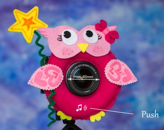 Photographer Helper, Camera Lens Buddy (65 mm hole) with a Squeaker - Pink Owl with Star
