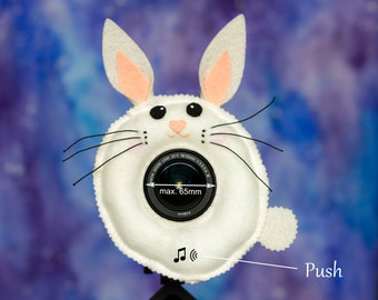 Photographer Helper, Camera Lens Buddy (65 mm hole) with a Squeaker - White Bunny