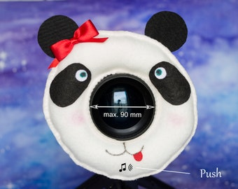 Photographer Helper, Camera Lens Buddy  (75-90 mm hole) with a Squeaker -  Cute Panda