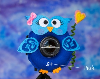 Photographer Helper, Camera Lens Buddy (65 mm hole) with a Squeaker - Blue Owl with Heart