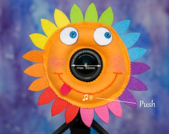 Photographer Helper, Camera Lens Buddy (65 mm hole) with a Squeaker  - Funny Rainbow Flower