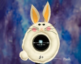 Photographer Helper, Camera Lens Buddy  (75-90 mm hole) with a Squeaker -  White Bunny