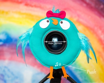 Photographer Helper, Camera Lens Buddy  (75-90 mm hole) with a Squeaker - Turquoise Bird with a Bow