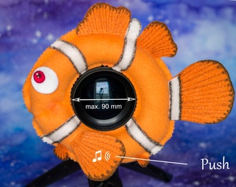 Photographer Helper, Camera Lens Buddy (75-90 mm hole) with a Squeaker - Clownfish Nemo