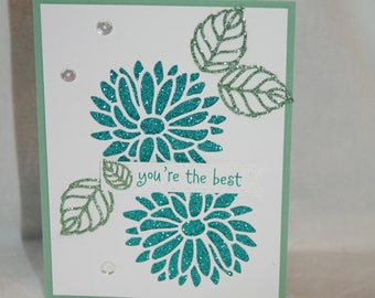 Handmade card 'You're the best' Friendship, Thank you, Encouragement, Congratulations