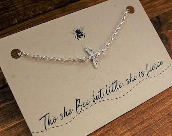 Sterling Silver Bee Bracelet//Tho she bee but little she is fierce //Bee jewellery //bee bracelet