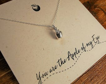 Silver Apple Necklace// You are the apple of my eye// Sterling silver apple pendant// apple charm necklace