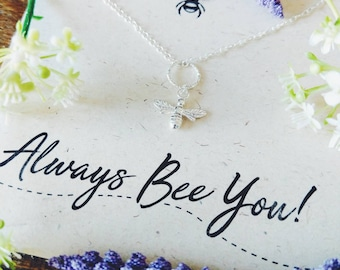 Sterling Silver Bee Necklace//Bee Pendant //Silver Bee charm//Bee Jewellery//Sterling Silver Necklace// Quote Jewellery// Gift for her