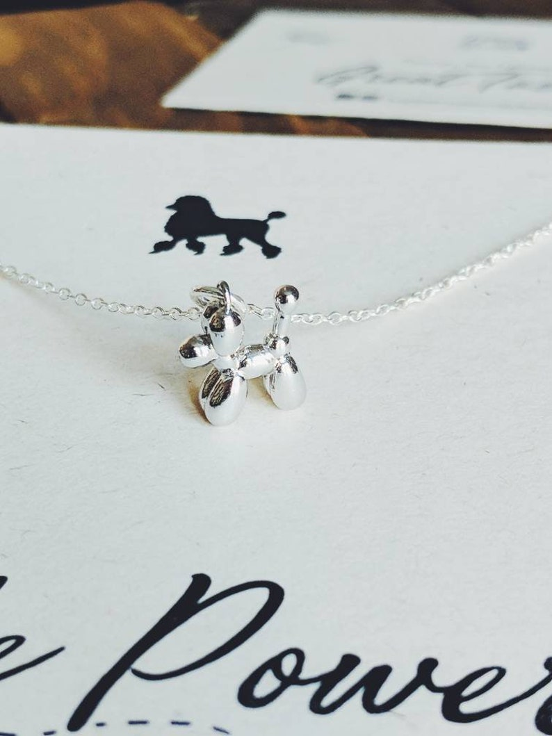 Silver Poodle Necklace// Poodle Necklace//Balloon Poodle Charm//Poodle  Puppy Charm//Dog Lover necklace// Poodle Power!//Tuppence and Delilah