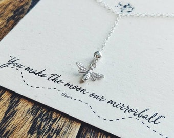 """Silver Bee Necklace with """"Mirrorball"""" Bead// Elbow// Manchester Bee//Sterling Silver Y style bee necklace//Bee Jewelry"""