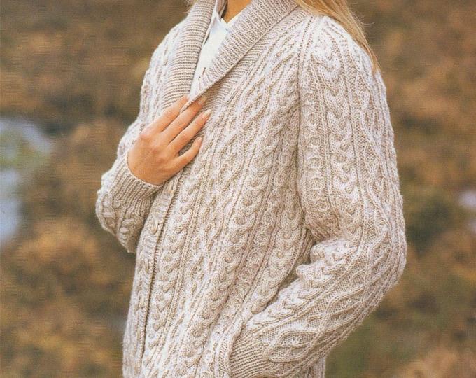 Womens Aran Raglan Jacket Knitting Pattern PDF Ladies 32, 34, 36, 38, 40, 42 inch chest, Aran Cardigan, Vintage Knitting Patterns for Women