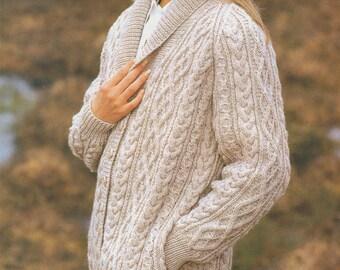 "Sunbeam  Aran Knitting Pattern Women//mens Sweater Cardigan Size 32//48/"" Chest"