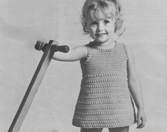 Girls Pinafore Dress Crochet Pattern PDF Toddlers 20, 22 and 24 inch chest, Summer Crochet Sundress, Vintage Crochet Patterns for Children