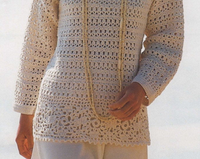 Womens Tunic Sweater Crochet Pattern PDF Ladies 32 - 34 and 38 - 40 inch chest, Long Sleeved Jumper, Crochet Patterns for Women, e-pattern