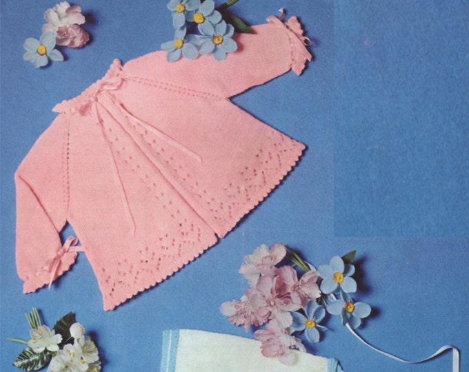 Babys Matinee Coat Knitting Pattern PDF : Babies 19 - 20 inch chest . 3 Ply . Boys . Girls . Matinee Jacket . e-patterns Download