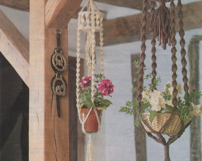 Plant Pot Hanger Macrame Pattern PDF, Hanging Planter, Homespun or Country Jute, Vintage Macrame Patterns for the Home, e-patterns Download