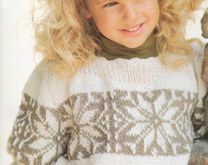 a3e341aa78d Girls Aran Fair Isle Snowflake Sweater Knitting Pattern PDF Childrens 24