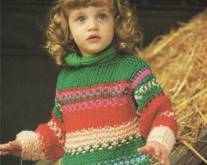 Girls Stripy Fair Isle Dress Knitting Pattern PDF Childrens 24 and 26 inch chest, Chunky Yarn Stash Project, epattern Download