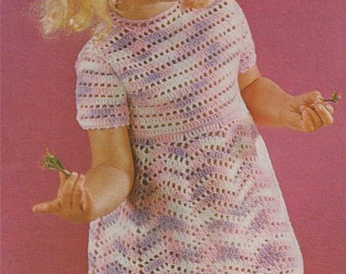 Girls Dress Crochet Pattern PDF Toddlers 20, 22 and 24 inch chest, Summer Crochet Dress, Vintage Crochet Patterns for Children, Download