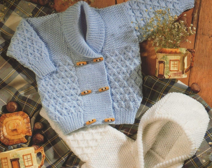 Baby / Toddler Hooded Jacket and Cardigan PDF Knitting Pattern : Boy or Girl 18 - 26 inch chest, Hoodie, Duffle Style, DK Yarn Pattern