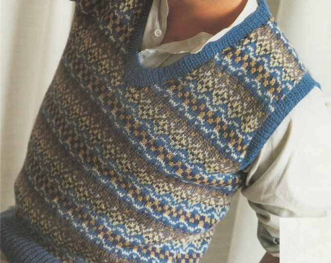 Mens or Womens Fair Isle Pullover Knitting Pattern PDF 36, 38, 40 and 42 inch chest, Fair Isle Slipover, Unisex, Digital Download