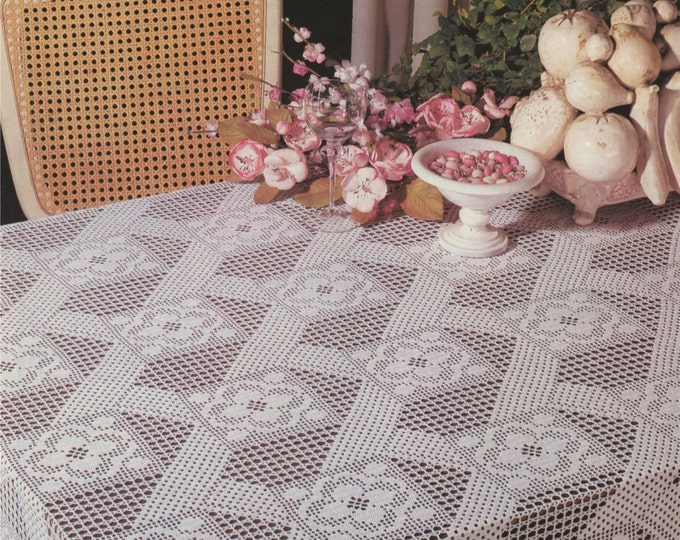 Table Cloth Crochet Pattern PDF, Tablecloth, Table Cover, Vintage Crochet Patterns for the Home, e-patterns Download