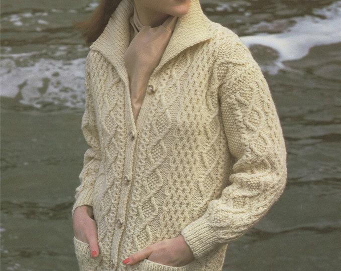 Womens Aran Jacket Knitting Pattern PDF Ladies 32, 34, 36, 38 and 40 inch bust, Long Aran Cardigan, Vintage Aran Knitting Patterns for Women