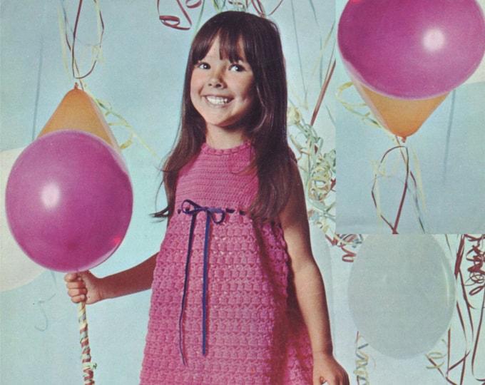 Girls Dress Crochet Pattern PDF Childrens 22, 24 & 26 inch chest, Summer Party Dress, Vintage Crochet Patterns for Girls, e-pattern Download