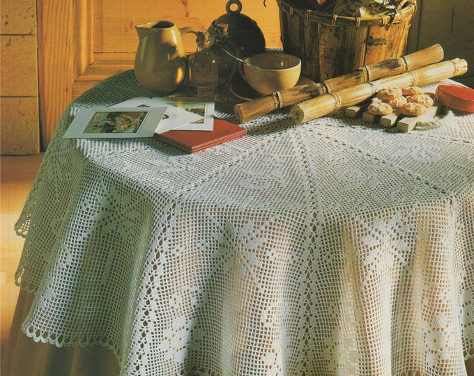 Round Tablecloth Crochet Pattern PDF Circular Table Cloth, Table Linen Pattern, Vintage Crochet Patterns for the Home, e-patterns Download